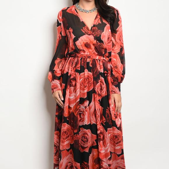 Plus Size Vibrant Red Orange Floral Maxi Dress Boutique